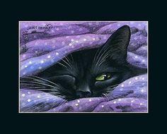 by Irina Garmashova Pretty Cats, Beautiful Cats, Crazy Cat Lady, Crazy Cats, I Love Cats, Cute Cats, Black Cat Art, Black Cats, Gatos Cats