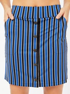 """If you're in the market for some new outfits, consider our women's apparel! Shop this comfortable and stylish Biltmore Stripe Belyn Key Ladies Button 17.5"""" Outseam Pull On Golf Skort from Lori's Golf Shoppe."""