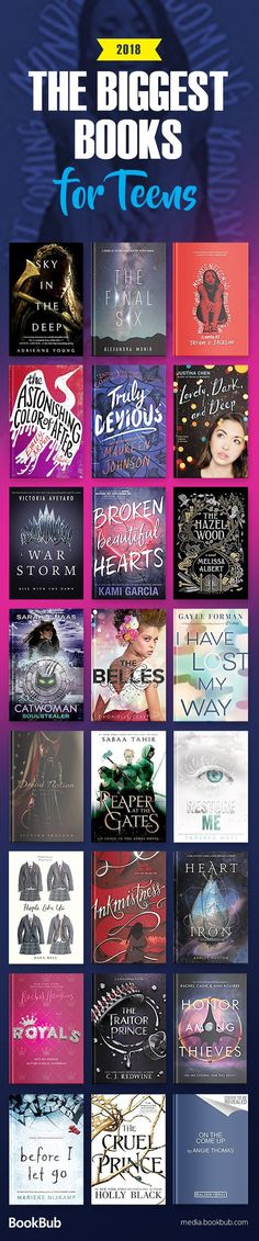A reading list of the best books for teens to read in 2018, including a mix of fantasy, dystopian, romance, mystery, and other popular books for teen girls and teen boys.