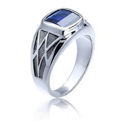 Men's Created Sapphire Gemstone Ring in Sterling Silver
