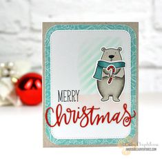 Essentials by Ellen All Inside, Bear Ware 2, Pretty Pink Posh Merry Christmas script die
