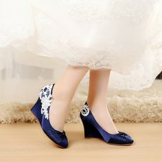 1298b1888 satin Blue Wedding Shoes Wedge Wedding Shoes Comfortable Wedge Shoes Unique  Design Wedge Shoes for Wedding
