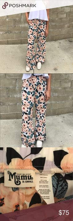 Show Me Your Mumu Trousers High-riser gives a super flattering waste. Nothing better than giant peonies & a leafy green print. Like new. Show Me Your MuMu Pants Trousers