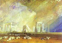 'Stonehenge', wasserfarbe von William Turner (1789-1862, United Kingdom)