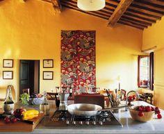 Uberlegen Gelbe Küchen Wandfarbe Und Akzent An Der Wand