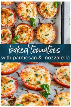 BAKED TOMATOES are a super quick and super easy side dish or appetizer for any occasion! These cheesy Baked Tomatoes with Mozzarella and Parmesan cheese are so simple yet incredibly delicious. Vegetable Sides, Vegetable Recipes, Vegetarian Recipes, Cooking Recipes, Healthy Recipes, Baked Tomato Recipes, Garden Tomato Recipes, Veggie Recipes Sides, Easy Vegetable Side Dishes