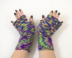 Hand Knitted Fingerless Mittens Fingerless Gloves  Green
