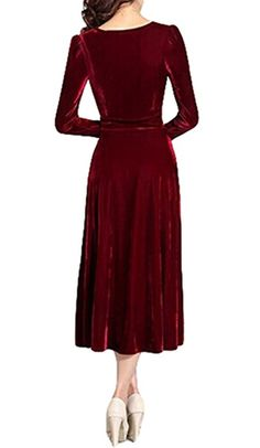 LIMATRY Women's Fashion Noble Gold Velvet Long-sleeved Dress (6, wine red)