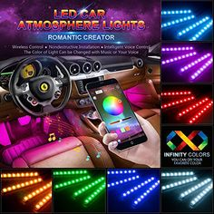 Car LED Strip Light, Wsiiroon 48 LED Multicolor Music Car Interior Lights Under Dash Lighting Waterproof Kit with Sound Active Function and Wireless Remote Control, Car Charger Included, DC - Automotive Parts List product Interior Led Lights, Car Led Lights, Rgb Led Strip Lights, Led Light Strips, Light Led, Automotive Led Lights, Cute Car Accessories, Interior Accessories, Lighting Accessories