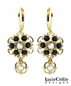 Dainty Dangle Flower Earrings by Lucia Costin with Twisted Lines, Dots, Black and White Swarovski Crystals; 24K Yellow Gold Plated over .925 Sterling Silver; European Inspired Lucia Costin. $54.00. Feminine floral design. Produced delicately by hand, made in USA. Unique and feminine, perfect to wear for special occasions and evenings. Lucia Costin dangle earrings. Adorned with black and white Swarovski crystals