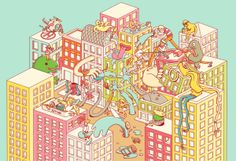 Illustration by Brosmind.  #NewYorkPost #Advertising #Design #Cityscape