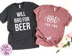 BBQ for Two, Will BBQ for Beer, Funny Couples Pregnancy Announcement Shirts, Baby Reveal Tshirt, Pregnant Tshirt, Mom and Dad to Be, BBQ Tee Aunt Shirts, Grandma And Grandpa, Mom And Dad, Grandparent Pregnancy Announcement, Pregnancy Announcements, Pregnancy Shirts, Pregnancy Tips, Pregnancy Belly, Shopping