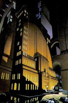 Batman The Animated Series' Gotham City Police Headquarters by Richie Chavez - Batman Poster - Trending Batman Poster. - Batman The Animated Series' Gotham City Police Headquarters by Richie Chavez and Steve Butz Batman Poster, Batman Artwork, Batman Comic Art, Funny Batman, Batman Drawing, Batman Cartoon, Bruce Timm, Gotham City, Batman City