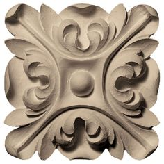 Ekena Millwork Floral with Leaves Square Rosette Wood Carving Designs, Wood Carving Patterns, Best Wood For Carving, Wood Rosettes, Painted Staircases, Wood Appliques, Sculpture, Floral Motif, Wood Design