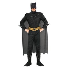 Men's Batman The Dark Knight Rises Muscle Chest Deluxe Costume X-Large, Size: XL, Black