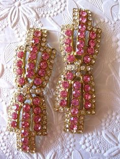 Vintage 1960s Pink Crystal Rhinestone Dress Clips HookedOnVintageShop, $25.00