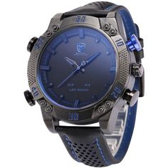 Shop for Shark Sport Watch Mens Army Black/Blue Leather Band Heavy Metal Rim Dual Movement Quartz Watch with LED Display/ Alarm. Get free delivery On EVERYTHING* Overstock - Your Online Watches Store! Cute Watches, Watches For Men, Wrist Watches, Shark Watches, Holiday Gifts For Men, Shark Man, Shark Shark, Blue Shark, Best Watch Brands
