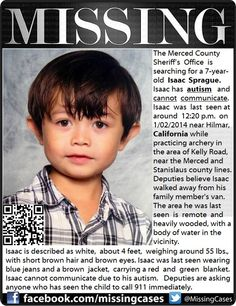 FOUND ~ ISAAC SPRAGUE ~ near Hilmar, California. (Keeping to give hope to those still missing and their loved ones). But his story touched my heart. Let's bring others home safely. Missing Child, Missing Persons, People In Need, Good People, Missing And Exploited Children, Amber Alert, Gives Me Hope, Create Awareness, Poor Children