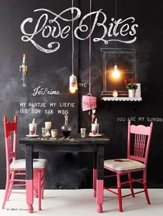 Chalkboard Paint Kitchen Wall- love the windows drawn on and the details for the candle sconce.