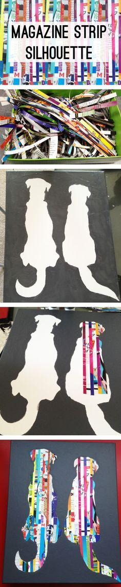 magazine strip silhouette diy you can do this with your pet or with photos or Disney cartoon figures you love...and plenty of other things xo