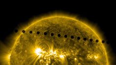In this composite image provided by NASA, the SDO satellite captures the path sequence of the transit of Venus across the face of the sun at on June 5-6 as seen from space. The last transit was in 2004 and the next pair of events will not happen again until the year 2117 and 2125. (NASA via Getty Images). Entire collection via Big Picture: http://www.boston.com/bigpicture/2012/06/transit_of_venus.html