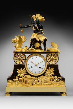 A Directoire Pendule 'Au Chasseur Améridien', by Jacques-Claude-Martin Rocquet Clock Art, Clock Decor, Unusual Clocks, French Clock, Classic Clocks, Retro Clock, Wall Clock Online, French Empire, Mantle Clock