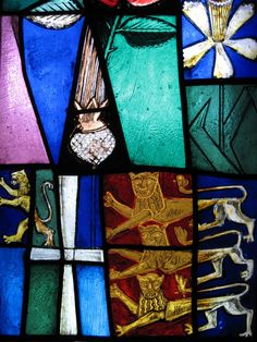 Stained Glass Window Close-up - new Coventry Cathedral - England: by John Piper and Patrick Reyntiens
