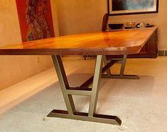 Turned A-Shaped Modern Steel Base, Design Steel Table Legs + 2 Cross Braces, Modern Industrial Sturdy Dining Table Base
