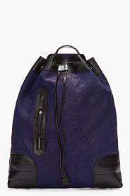 NEIL BARRETT Purple Buffalo Leather Triangular Nassau Backpack