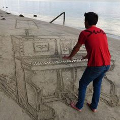 3D Sand Piano Beach Art by Jamie Harkins