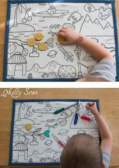 Catch crumbs and keep kids busy - I need these! How to Make Re-usable Dry Erase Placemats for Kids - MellySews.com