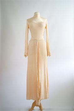 Vintage Wedding Dress  1930s Satin Bias Cut by xtabayvintage