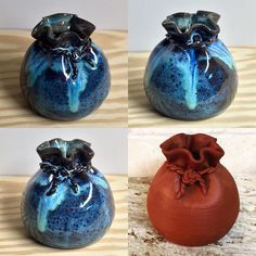 Pottery wheel thrown vase #pottery #handmade #budvase #ceramic #potsinaction #ceramica #wheelthrownpottery #wheelthrown #etsymudteam #AnasClayHouse #potterysack #bluevase #kilnopening #glazemagic