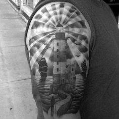 Upper Arm Realistic Male Lighthouse Tattoo Design