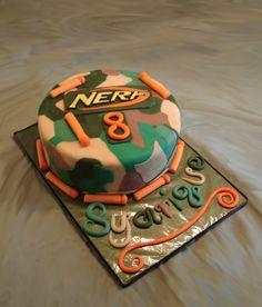 Nerf & Camo Birthday: All fondant cake with fondant darts and logo