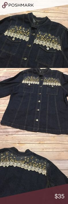 Lace trim jean jacket Plus size 20. Jean jacket with lace and flower beads across chest. 26 bust. 29 length. casual elegance Jackets & Coats Jean Jackets