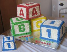 :) Alphabet ABC Blocks and Cubes as Cake, yummy! We are re-posting this picture and do not own it. Abc Birthday Parties, Abc Party, Baby Boy 1st Birthday, Alphabet Birthday, Alphabet Party, Baby Shower Sheet Cakes, Abc Baby Shower, First Birthdays, Minecraft Party