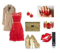 Red & Gold Christmas Fashion outfit. Very festive