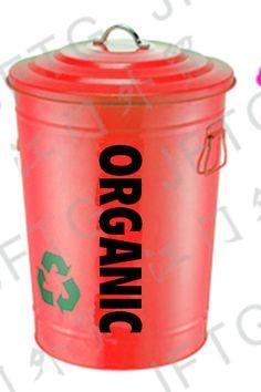 Bote de metal con tapa redondo de 18L en color rojo para basura organica
