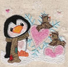 Threadsketches' set Snow in Love - Christmas machine embroidery design, penguin with hearts and birds