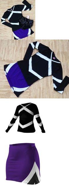 7edea56ec88 Cheerleading 66832  Adult M L Black Purple Cheerleader Uniform Stretch Top  Skirt Briefs 36-39