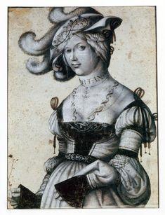 """""""Halbfigur eines Mädchens"""", Daniel Hopfer (ca. 1470-1536)"""