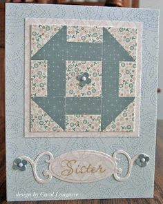 handmade quilt card from Our Little Inspirations ... small print patterned papers ... nine patch quilt block with punched squares cut in half to form design in light and dark ... great card!!