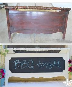 Thought of you Emily : ) How to Transform a Footboard into a Message Center:    Supplies:  Footboard  Medium grade sandpaper  Primer  Paint color of choice  Chalkboard paint  Knobs of choice  D Ring Hangers  Screwdriver