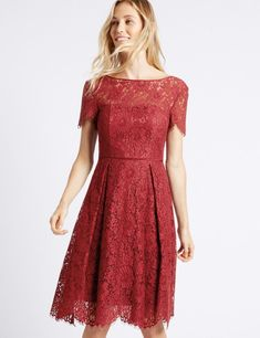 Buy the Cotton Blend Lace Swing Dress from Marks and Spencer's range. Swing Dress, Pleated Skirt, Lace Shorts, Lace Dress, Short Sleeve Dresses, Feminine, Chic, Skirts, Cotton