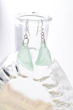 Textured Rhode Island Coca-Cola Aqua Sea Glass Earrings with 925 Sterling Silver Swarovski Crystal Ear Wires $15.00 #swarovski #sterlingsilver #aqua #coke #cocacola #earrings