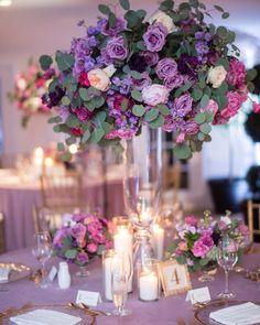 Ultra Violet Weddings Are Coming in Haute ultra violet wedding centerpiece украшение свадебного стола в цвете ультрафиолет