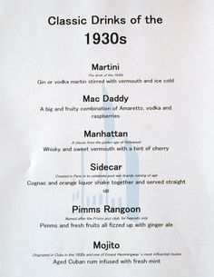 Classic drinks of the 1930s, vintage, party, alcohol