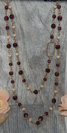 Splattered Burgundy and Gold Multi Strand Necklace Gift for Mom Long Necklace Glass beaded necklace Statement Necklace by Ladyjscreative on Etsy