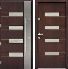 Drzwi wejściowe z aplikacjami inox model 419,1-419,11 w kolorze orzech